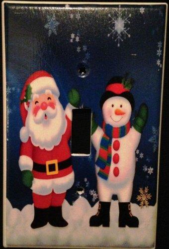 CHRISTMAS Decor Santa & Snowman  Single LIGHT SWITCH COVER Single switch plate