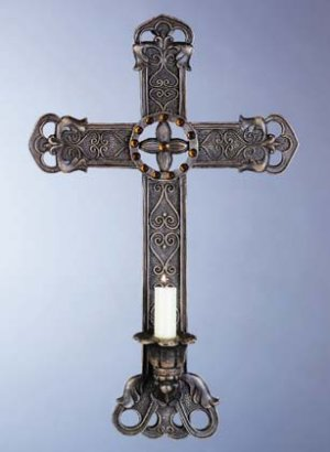 Antique-Look Cross Candle Holder with Amber Glass (Item # 33527)