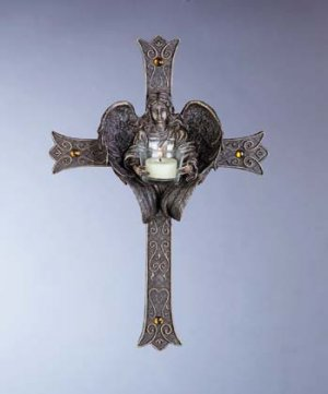 Antique-Look Cross with Angel Candle Holder (Item # 33528)