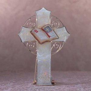 Capiz Shell Cross Candle Holder (Item # 34523)