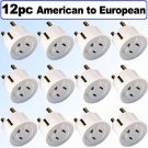 American to European Schuko Outlet Plug Adapter - 12 Pack