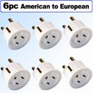 American to European Schuko Outlet Plug Adapter - 6 Pack