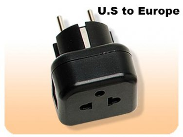 MVR11 VDE Earth 5mm Round Pin Plug American 3 Prong Plug Adapter USA to Euro