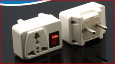 609H Universal Plug Adapter with Switch for Europe Outlets