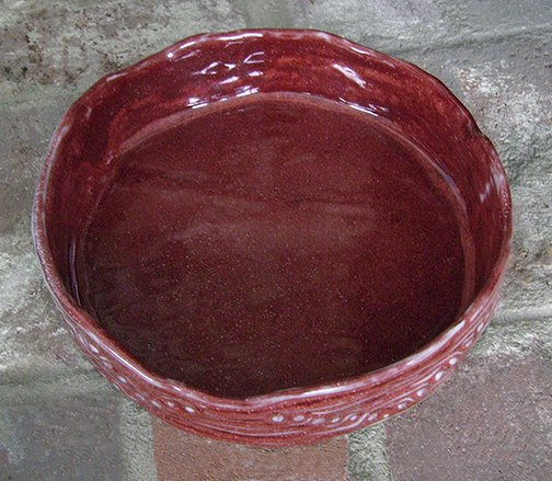 Large Red Serving or Display Bowl, handbuilt ceramic pottery