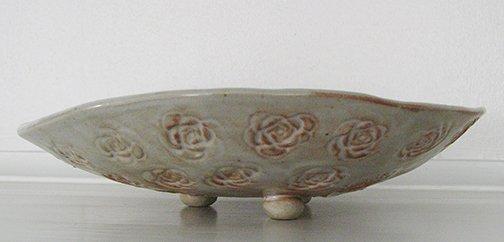 Medium Oval Concave Dish, Rose Design, Footed, orange, tan, handbuilt