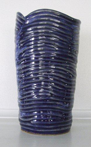 Large Blue Vase, Container or Utensil Holder, handbuilt ceramic pottery