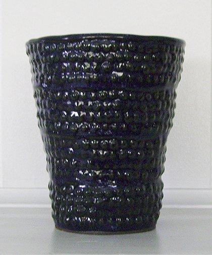 Medium Round Blue Vase, Container, Utensil Holder, handbuilt ceramic