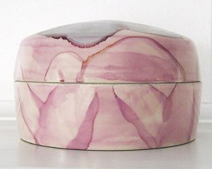 Medium Round Ceramic Container with Lid, Pink