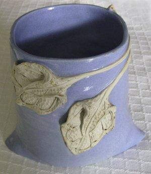 Ceramic Vase, Container, Utensil Holder, Blue with Leaf Design