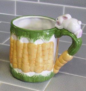 Mugs, Bunnys and Carrots, Orange, Green, Set of 2
