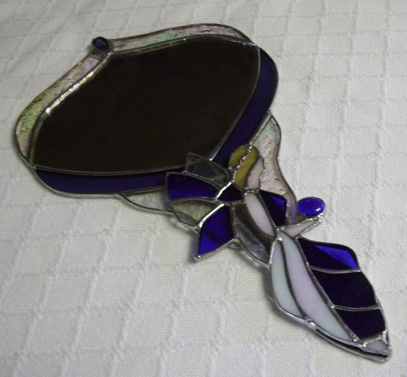 Hand Mirror, Stained Glass, Blue, Angel Shaped Handle, handmade