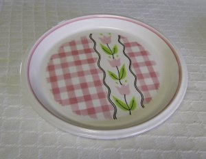 Mikasa, Country Gingham, Cotton Candy, Pink, Salad or Dessert Plate, Vintage, 4 available