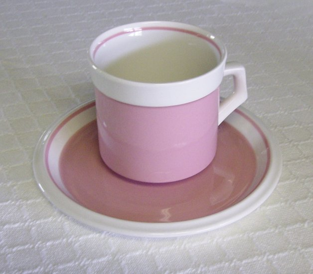 Mikasa, Country Gingham, Cotton Candy, Pink, Cup and Saucer, Vintage, 2 available