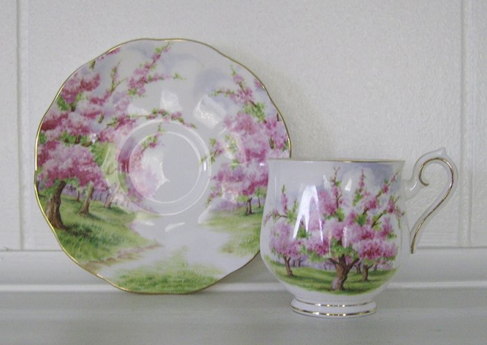Royal Albert, Bone China, Blossom Time, Demitasse Footed Cup and Saucer Set, 4 available