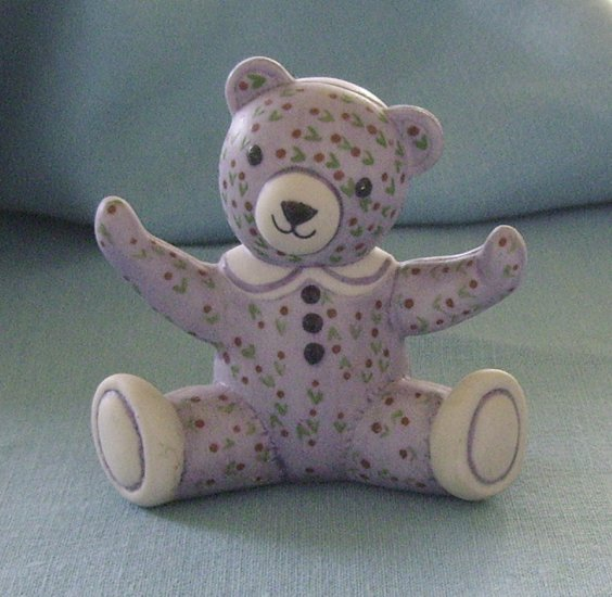 Franklin Mint, Americana Teddy Bear, Calico Teddy, Lavender, 1991