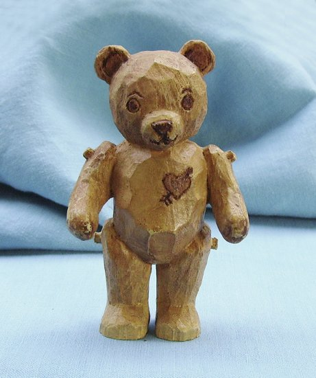 Franklin Mint, Americana Teddy Bear, Wood Carved Style Teddy, 1991