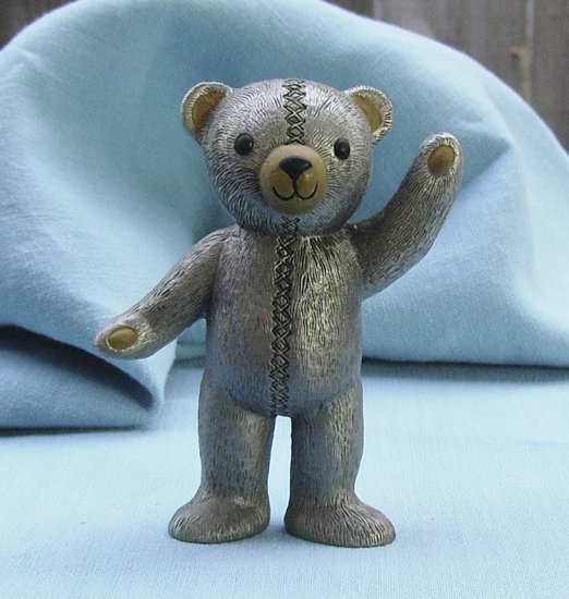 Franklin Mint, Americana Teddy Bear, Pewter Teddy, 1991