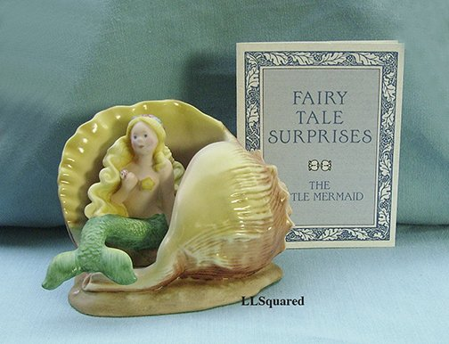 Franklin Mint, Fairy Tale Surprises Collection, 1986, Figurine, Little Mermaid Sitting in a Shell