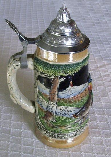 German Beer Stein, Pewter Lid, mint, vintage