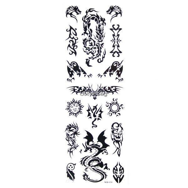 Body Art Temporary Tattoos Sticker - Dragons Pattern