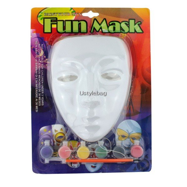 DIY Colored Drawing/ Painting Mask with Paint Set Great Halloween Gadget Costume