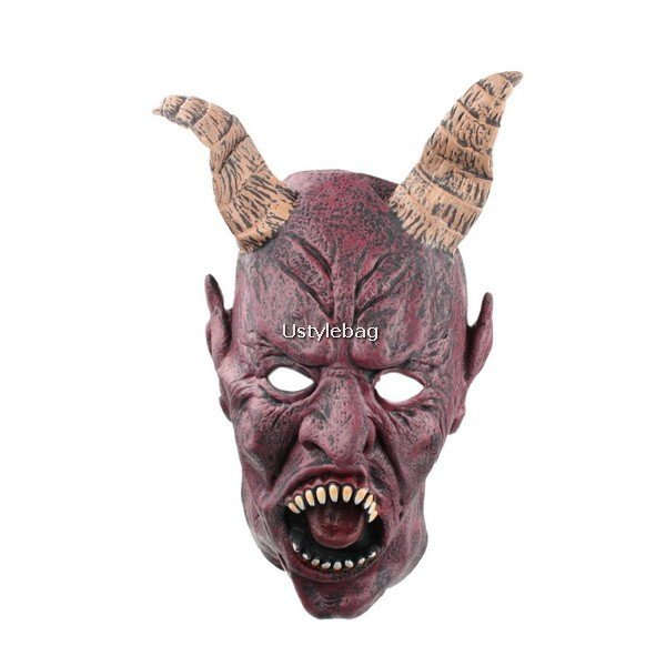Horrible Rubber OX Satan Bull Halloween Mask with Opening Mouth for All Saint's Day