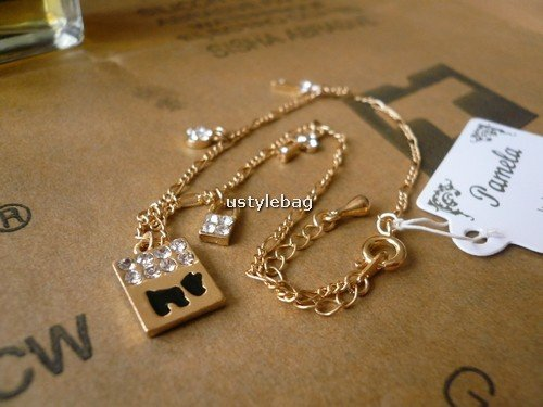 Lovely Anklets dog pattern with shiny stone decoration free shipping