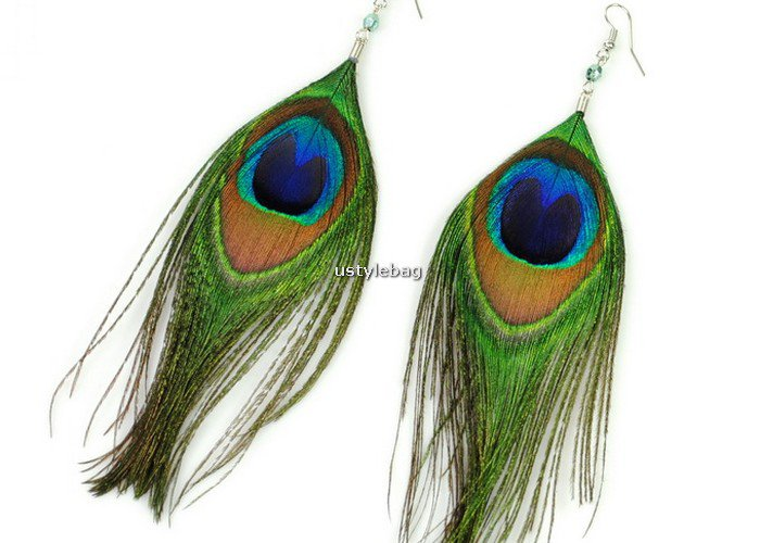 New Vintage Luxury Feather Dangle Peacock Earrings Large