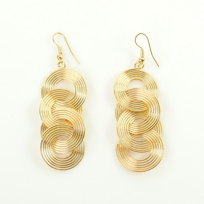 New Cute Gold Long Fashion Dangle Earrings EG0005 free shipping