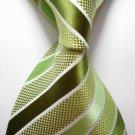 Green yellow Stripe Silk Classic Woven Man Tie Necktie