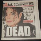 MICHAEL JACKSON New York Post DEATH NEWSPAPER- King of Pop Dead- 6/26/2009