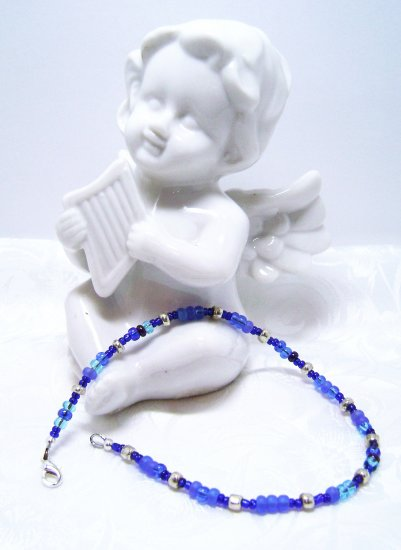 Blue Lagoon and Silver Tone Anklet