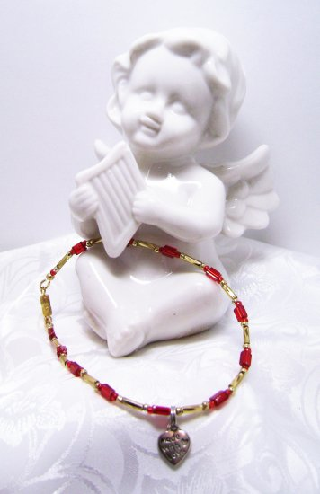 Red and Gold Anklet with a Cute Little Heart Dangle Heart