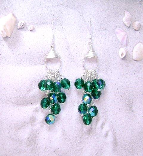 Rich Aquamarine Waterfall Earrings