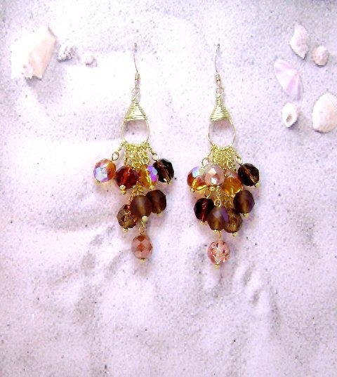 Gold Amber Bronze Lights Waterfall Earrings