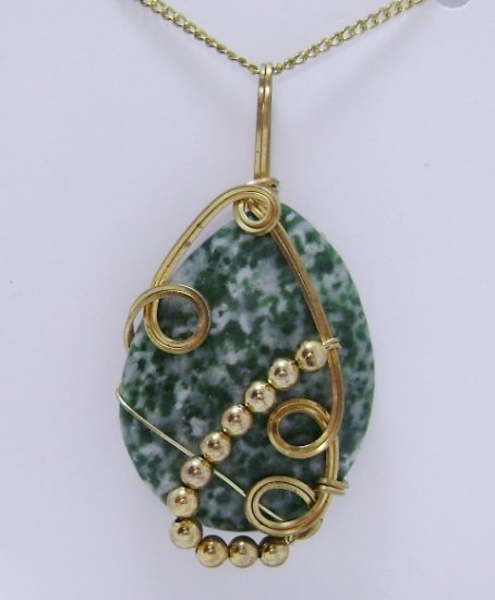 Wire-Wrapped Tree Agate Gemstone Pendant