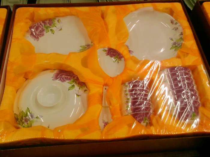 Chinese Magnesia Porcelain Tableware Set 38 PCS Floral 04