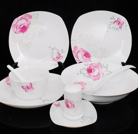 Fine Bone China Dinnerware Set 28PCS Rose and Butterfly Wedding Gift