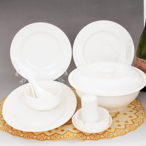 Fine Bone China Dinnerware Set 28PCS Pure White