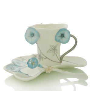3 Set of Enamel Porcelain Blue Morning Glory Coffe Cup Set