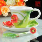 3 Set of Imperial Enamel Porcelain Poppy Flower Coffee Cup Saucer & Spoon