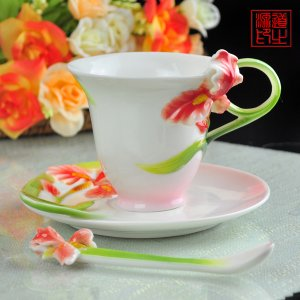 3 Set of Imperial Enamel Porcelain Red Iris Coffee Cup Saucer & Spoon