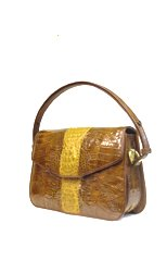 Genuine Crocodile Leather Handbag 2 Tones