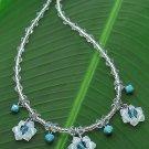 Blue Floral Crystal Necklace