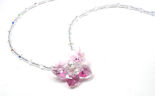 Pink Floral Brilliant Swarovski Crystal Necklace.