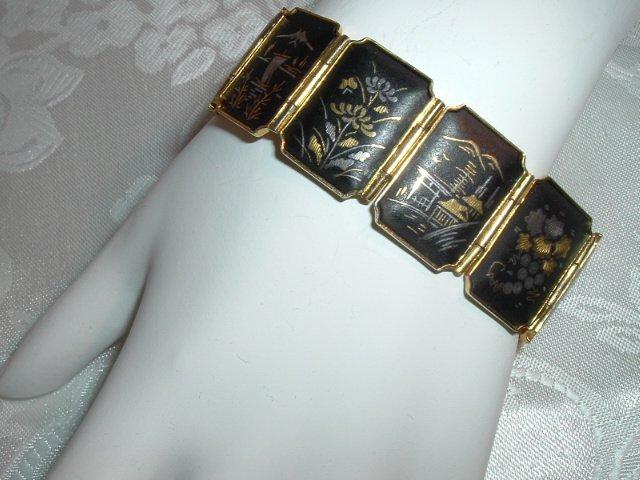 ***#13 - Wide Gold Gilt Designer Silver & Gold Damascene 11 Panel Bracelet - Exl!