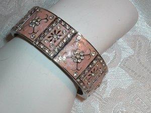 Vintage Silver Tone Pink Enamel & Crystal Rhinestone Bracelet