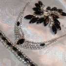 Vintage Jewelry Black Navette & Radiant Clear Rhinestone Set
