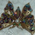 Enchanting  Vintage Coro Aurora Borealis Navette Rhinestone & Faux Pearl Butterfly Brooch